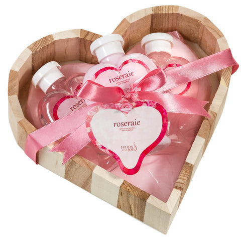 Luxury Bathroom Spa Gift Set: Aromatic Cleansing Pink Rose  Vintage Heart Basket for Women with Body Lotion, Bubble Bath, Shower Gel - Freida & Joe