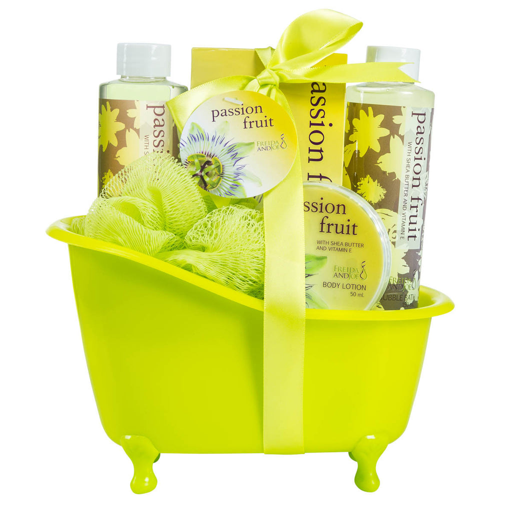 Passion Fruit Tub Bath Spa Set: Shower Gel, Bubble Bath, Body Lotion, Bath Salt, & Puff - Freida & Joe