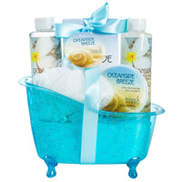 Oceanside Breeze Tub Bath Spa Set: Shower Gel, Bubble Bath, Body Lotion, Bath Salt, & Puff - Freida & Joe