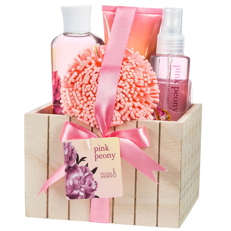 Pink Peony Spa Bath Gift: Shower Gel, Bubble Bath, Body Spray, Body Lotion & Sponge - Freida & Joe