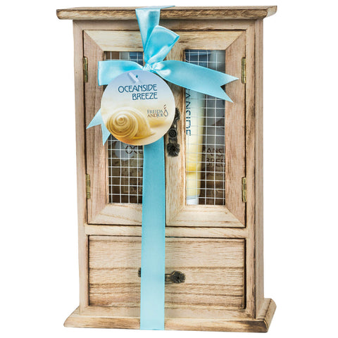 Oceanside Breeze Spa Bath Gift Set in Natural Wood Curio - Freida & Joe