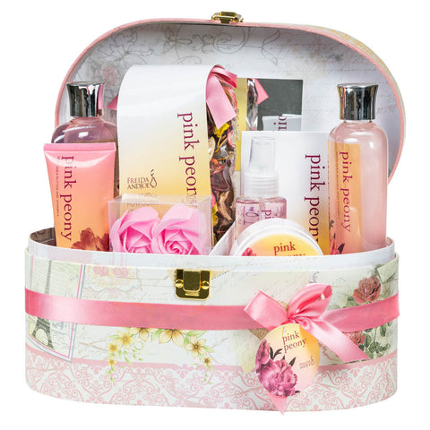 Pink Peony Spa Bath Gift Set in Mirrored Jewelry/Cosmetics Box - Freida & Joe