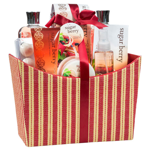 Sugar Berry Complete Spa Gift Basket: Body Butter, Body Lotion, Body Spray and More. - Freida & Joe