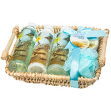Oceanside Breeze Bath Basket: Shower Gel, Bubble Bath, Body Lotion, Bath Salts and Puff - Freida & Joe