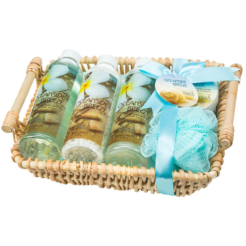Oceanside Breeze Bath Spa Gift Set Woven Basket - Freida & Joe
