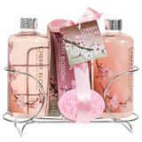 Cherry Blossom Women's Gift Set: Shower Gel, Bubble Bath, Body Lotion, Bath Salts, & Pink Flower Salt - Freida & Joe