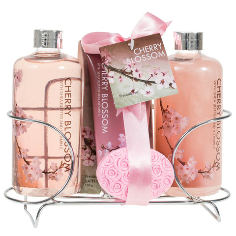 Fragrant Cherry Blossom Spa Gift Set for Women: Luscious Bathroom Set of Shower Gel, Bubble Bath, Body Lotion, Bath Salts, and Pink Flower Salt for Relaxation - Freida & Joe