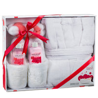 Luxury BathRobe Lush Slipper Spa Bath Body Set in Pink Peony Fragrance