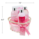 Roseraie Spa bath and body gift set displayed in wire heart shape basket