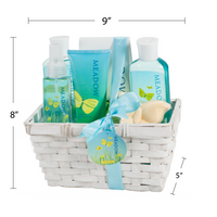 Meadow Bath Gift Basket: Shower Gel, Bubble Bath, Body Lotion, Body Spray, Bath Fizzer - Freida & Joe
