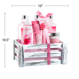 Beautiful & Luxurious Pink Rose Bath Gift Set For Women By Freida Joe – Romantic & Elegant Spa Gift Basket With Vintage Wood Crate & Multiple Rejuvenating Body & Skin Care Products – Perfect Gift Idea
