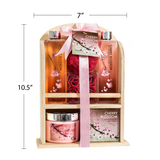 Cherry Blossom Bathroom Spa Gift Set: Spring Clean Your Senses with Shower Gel, Bubble Bath, Bath Salts, Body Lotion, Bath Puff, and Rose Soaps Packed with Traditional Wooden Shelf Storage
