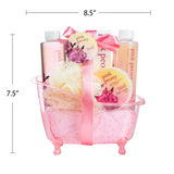 Pink Peony Tub Spa Basket, Shower Gel, Bubble Bath, Body Lotion, Bath Salts & Puff - Freida & Joe