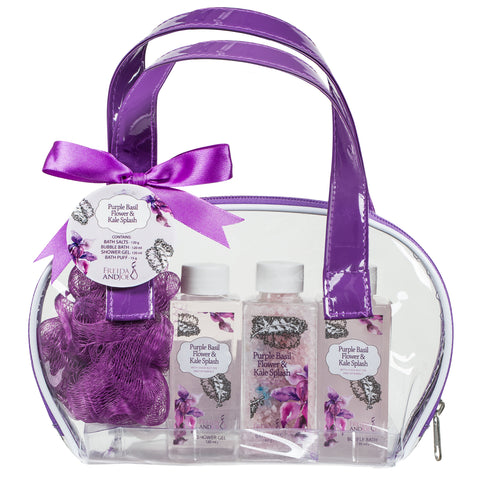 Spa Kit for Women: Purple Basil Flower & Kale Bath Salts, Bubble Bath, Shower Gel, and Puff - Freida & Joe