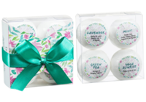 4 Bath Bombs With Essential Oils: Lavender, Mint, Yoga Sunrise, Green Tea. - Freida & Joe