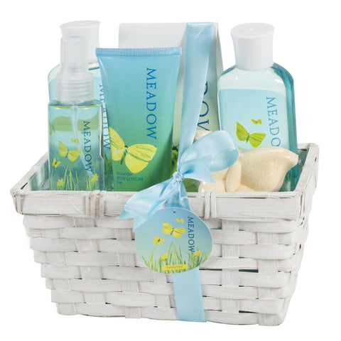 Meadow Bath Gift Set in Wicker White Basket - Freida & Joe
