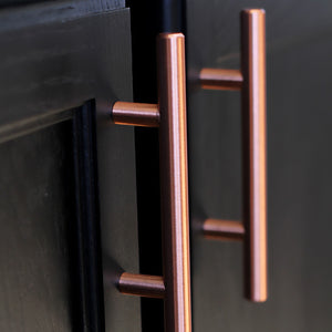 "Satin Copper Cabinet Hardware Euro Style Bar Handle Pull - 6"" Hole Centers, 8-3/4"" Overall Length"
