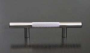 "Polished Chrome Diamond Cut Knurled Euro Style Bar Handle Pull - 3"" Hole Centers, 5-3/4"""" Overall Length"