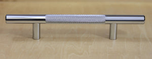 "Polished Chrome Diamond Cut Knurled Euro Style Bar Handle Pull - 128mm Hole Centers, 7-3/4"""" Overall Length"
