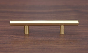 "Satin Brass Cabinet Hardware Euro Style Bar Handle Pull - 96mm (3-3/4"") Hole Centers, 6-3/4"""" Overall Length"
