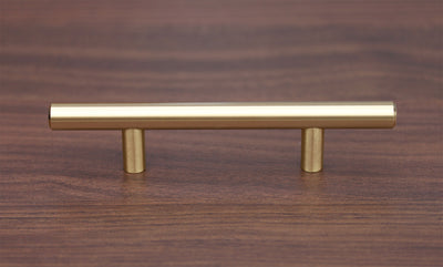 "Satin Brass Cabinet Hardware Euro Style Bar Handle Pull - 128mm Hole Centers, 7-3/4"""" Overall Length"