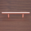 "Satin Copper Cabinet Hardware Euro Style Bar Handle Pull - 128mm Hole Centers, 7-3/4"" Overall Length"