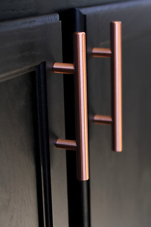 "Satin Copper Cabinet Hardware Euro Style Bar Handle Pull - 96mm Hole Centers, 6-3/4"""" Overall Length"