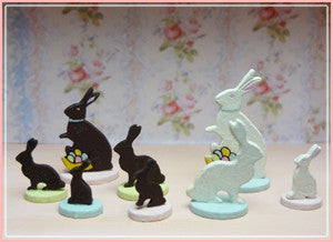 "1"" Set of Wood Bunnies"