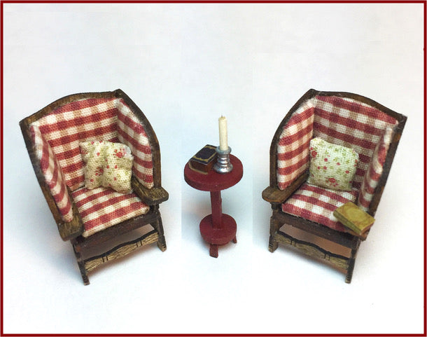 CRANBERRY COTTAGE - MAKE-DO WINGBACK CHAIRS WITH CANDLE STAND