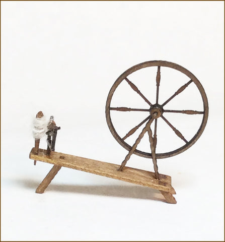 CRANBERRY COTTAGE - SPINNING WHEEL & CROCKS