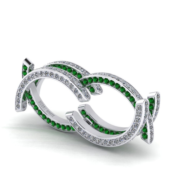 Motion Two Diamond & Emerald Ring By Bobby White