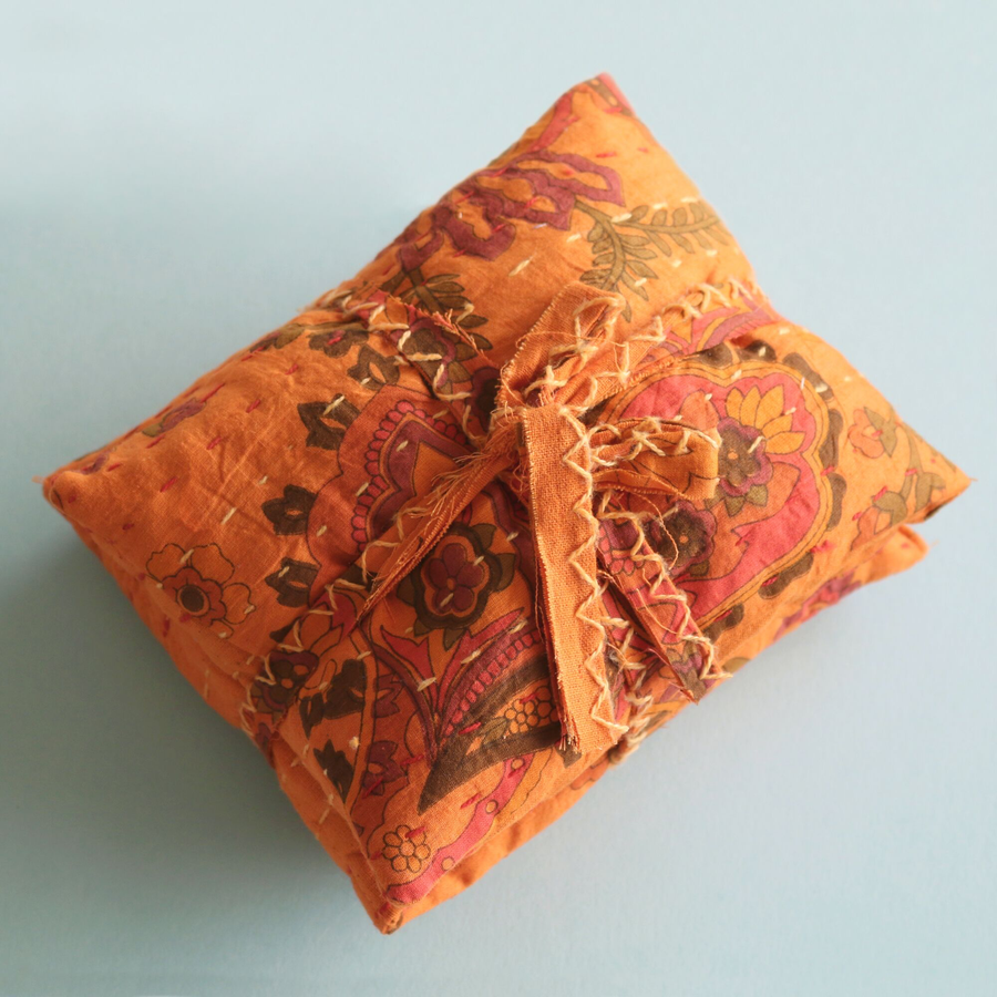 Cherry Stone Pillow - Kantha Orange