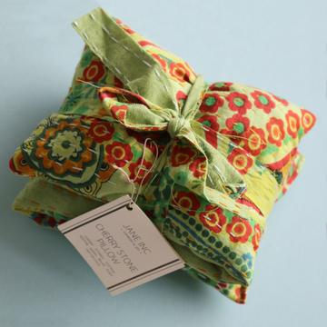 Cherry Stone Pillow - Kantha Green