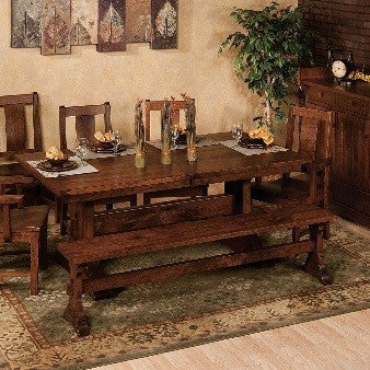 Hardwood trestle dining sets