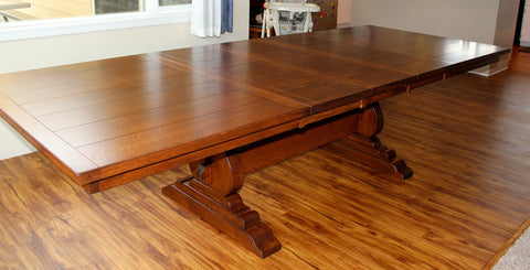 Amish Tables Quarter Sawn Oak Trestle Table