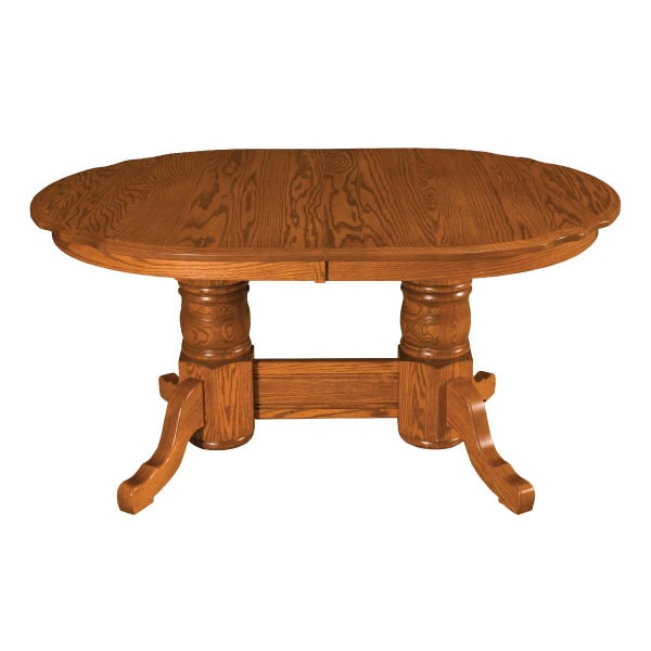 Traditional Scallop Double Pedestal Extension Table
