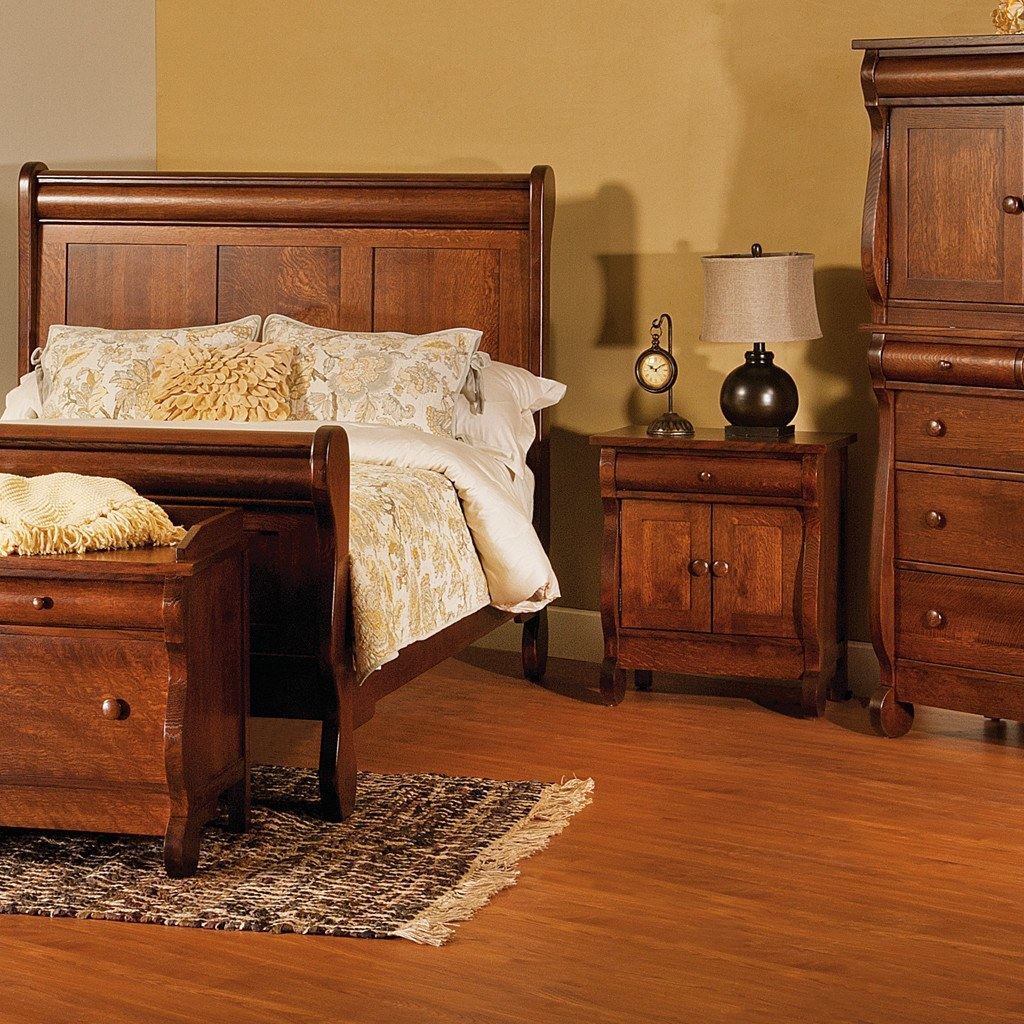 old classic sleigh bed amish tables 2