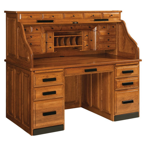 Deluxe Roll Top Desk - Amish Tables  - 1