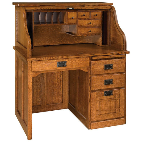 Single Pedestal Roll Top Desk - Amish Tables  - 1