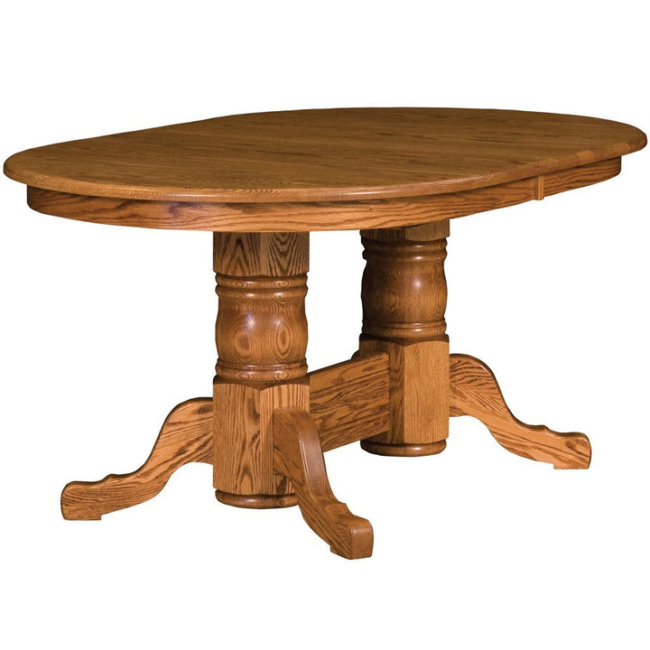 Traditional Double Pedestal Extension Table - Amish Tables  - 1