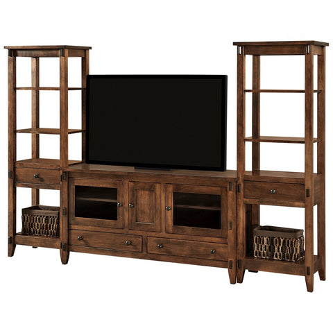 Bungalow Open Media Wall Unit - Amish Tables  - 1