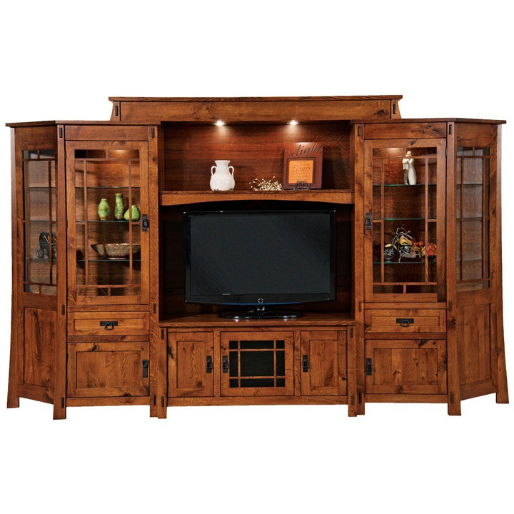 Modesto Media Wall Unit With Angled Side Cabinets