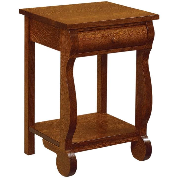 Old Classic Sleigh Nightstand - Amish Tables  - 6