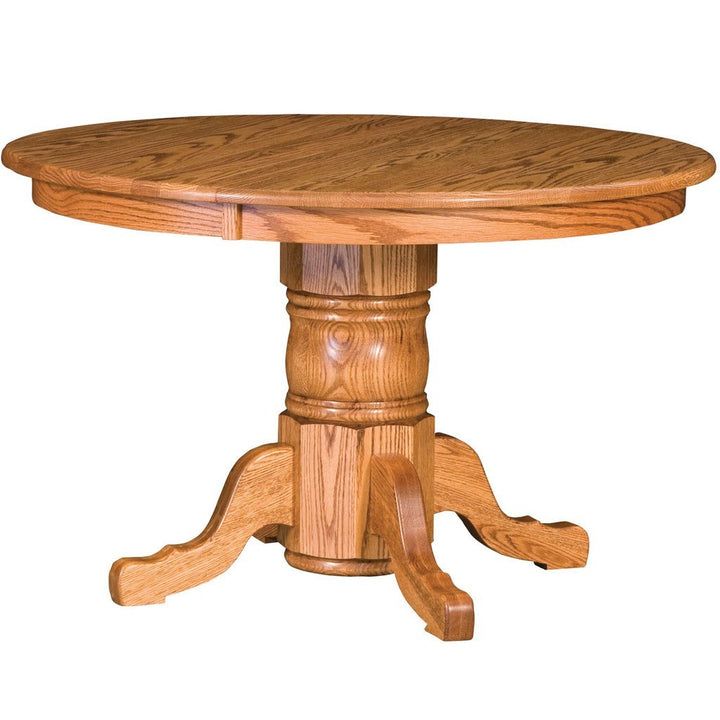 Traditional Single Pedestal Extension Table - Amish Tables  - 1