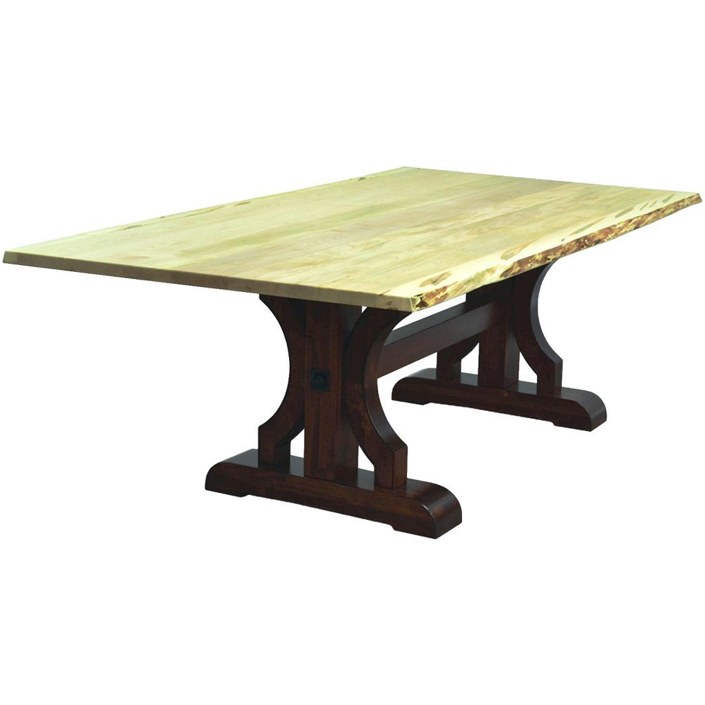 barstow trestle live edge table amish dining tables amish tables barstow trestle live edge table amish tables 1