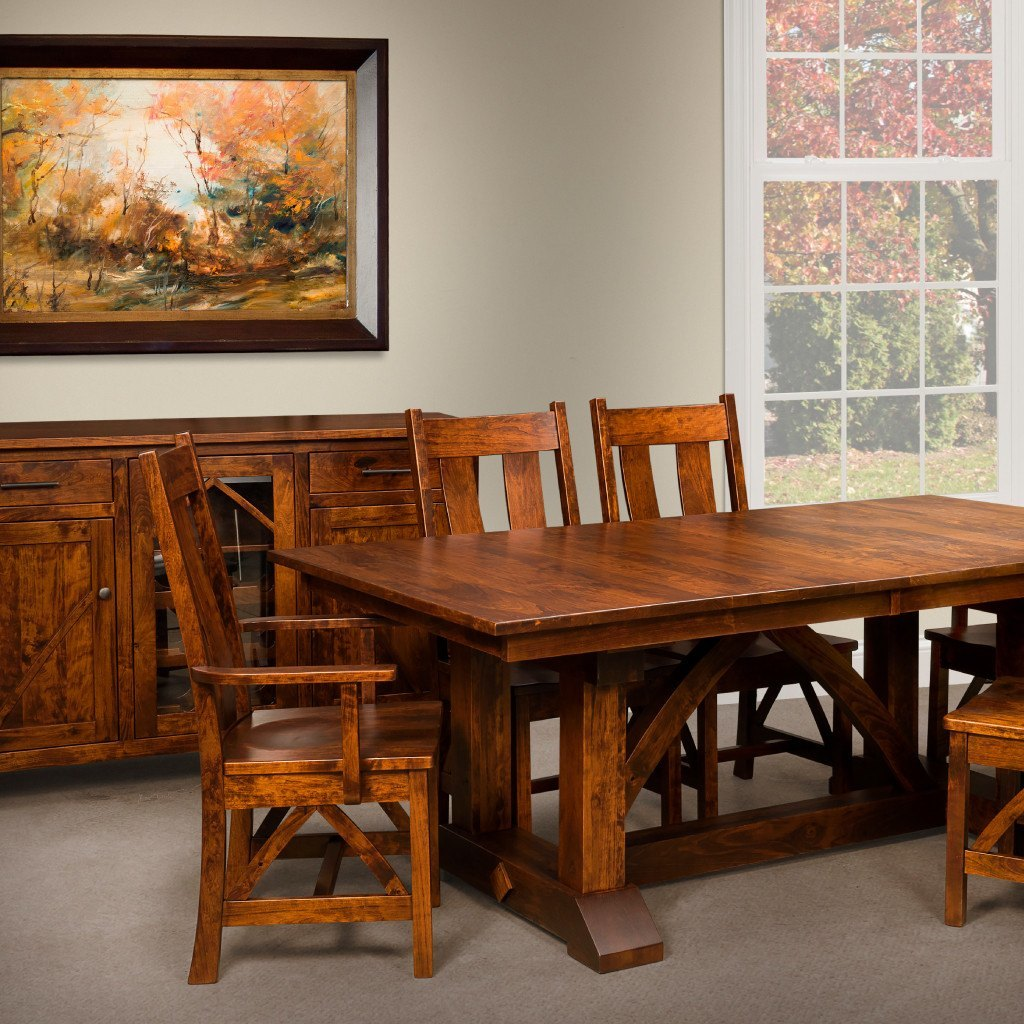 Bostonian Trestle Extension Table Amish Dining Tables