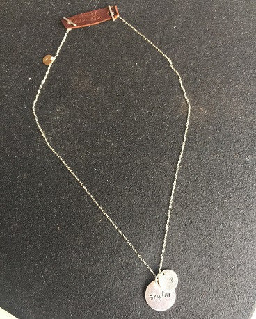 Dainty Chain Necklace with Two Circle Charms