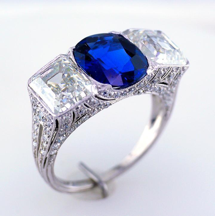 1920s era Art Deco sapphire and diamond ring.