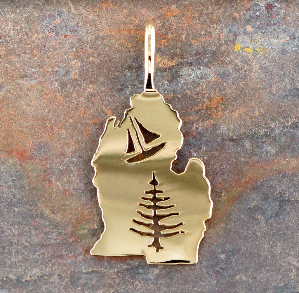14K Yellow Gold Upper Peninsula of Michigan Charm