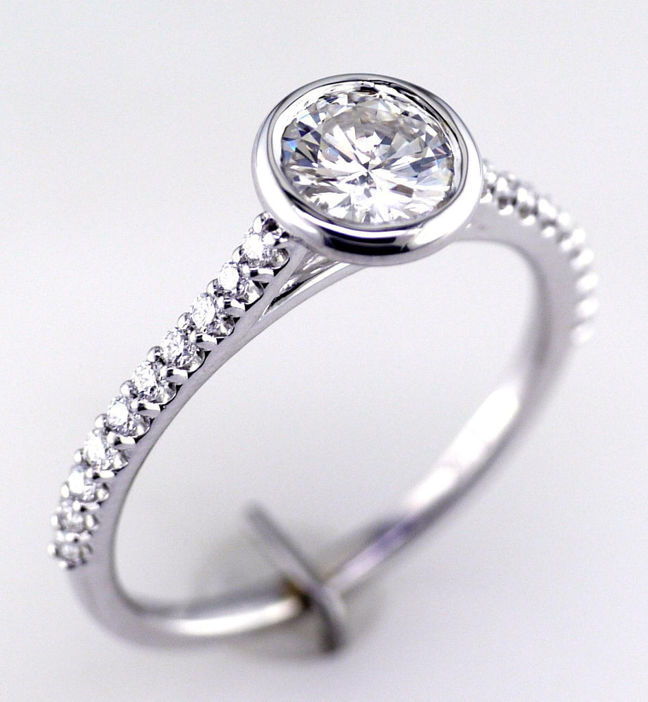 14K White Gold Bezel-Set Engagement Ring
